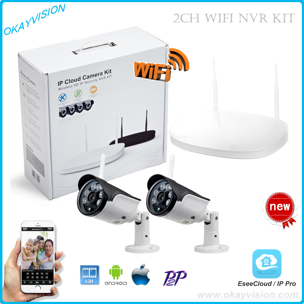 2CH WIFI CCTV System 1PCS 1080P P2P WIFI NVR 2PCS 1.0 MP IR Outdoor P2P Wireless Wifi IP Camera Security System Surveillance Kit