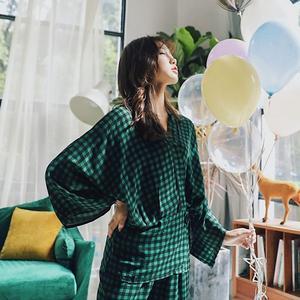 Image 2 - Женские пижамные комплекты, комплект из 2 предметов, весенний женский топ и штаны, повседневные кимоно с длинным рукавом, рубашки и штаны, женские пижамы, домашний костюм