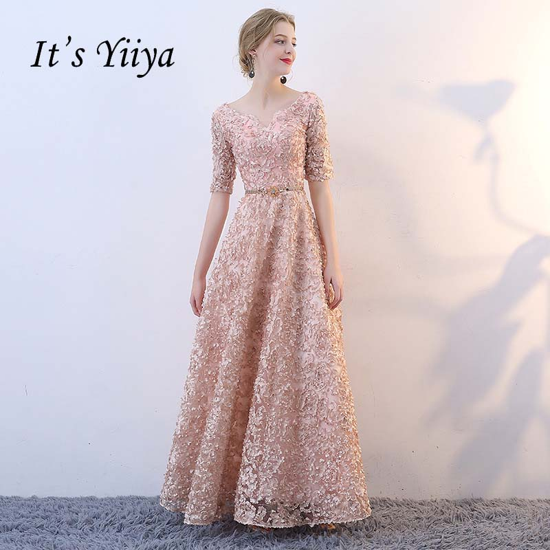 It's YiiYa V-neck Half Sleeves Flowers A-line Vintage Elegant Lace Up Party Frocks Dresses Floor Length Evening Dresses YS018