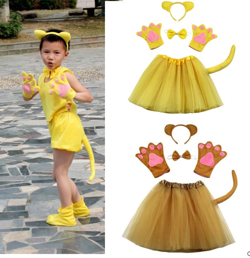 fiesta de halloween cosplay nios nio nia animal brown yellow oso disfraz set diadema ropa zapatos