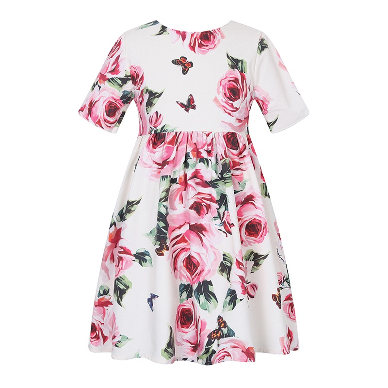 Girls Dress 2018 Summer Floral Printed Kids Dresses for Girls Short Sleeve Birthday Costume for Girls Clothes Children Clothing 2018 new arrived baby girls dresses summer clothes cute cartoon mickey printed milksilk short sleeve children infant dress for g