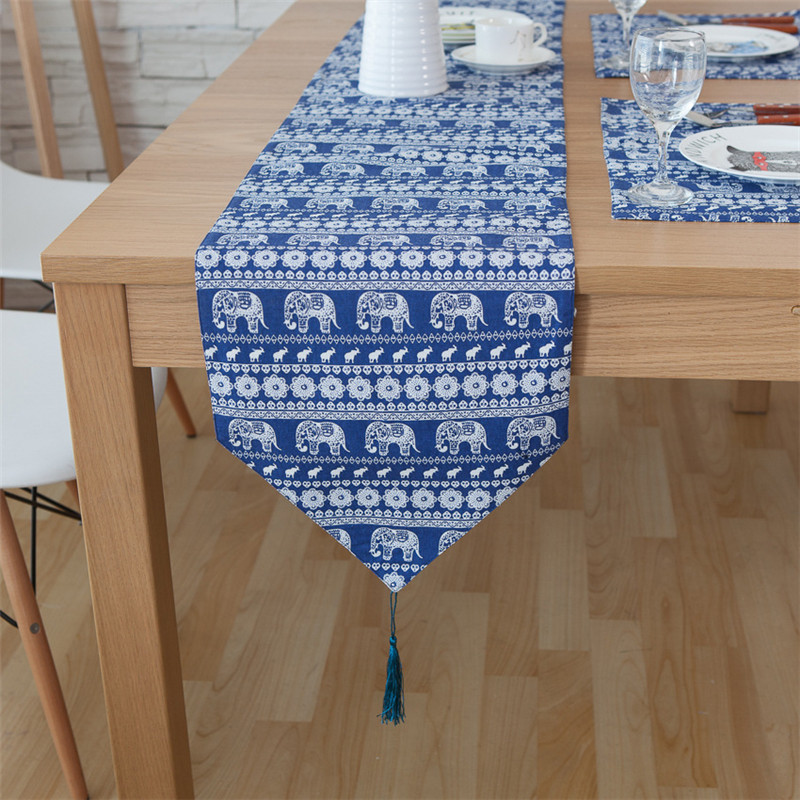 Runner Da Tavola.Us 10 78 40 Off Blue Elephant Party Decorations Table Runner American Luxury Table Runner Tovaglia Runner Da Tavola Corredor Da Tabela In Table