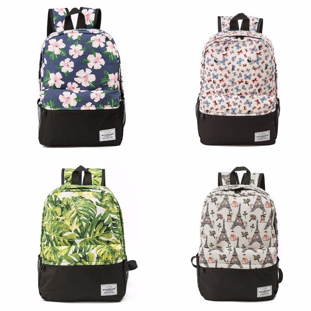 Radient Miyahouse Frauen Rucksäcke Für Teenager Mädchen Mode Blätter Druck Rucksack Lässig Damen Daypack Retro Schule Tasche Reisetaschen