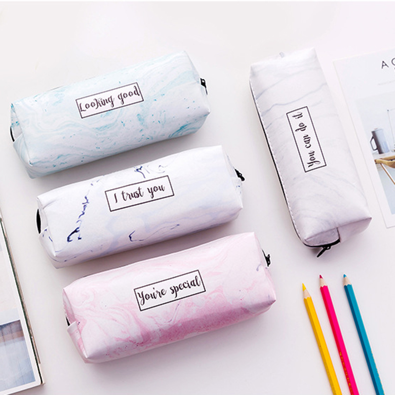 Fashion Special Marble Pencil Case Storage School Tools PU Leather Pen Bag Box Waterproof Pouch Stationery Supplies