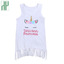 Baby girl summer clothes unicorn dress for kids Sleeveless Tassel beach toddler unicornio party baby frocks costume