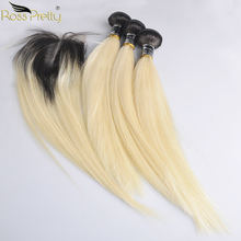 Ross Pretty Ombre 1b Blonde Remy Human Hair Bundles With Closure Peruvian Straight Hair Weave With Lace Closure color 1b 613 цена 2017