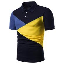 Splice Men Polo Shirt Men's Clothing Tops Turn-down collar Polo Shirt Men Short sleeve Tees Summer Streetwear Navy white недорого