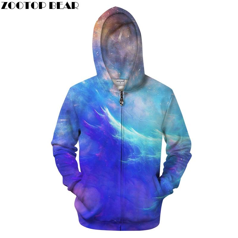 Galaxy 3D Zip Hoodie Men Hoody Zipper Tracksuit Groot Sweatshirt Casual Coat LongSleeve Pullover Streatwear DropShip ZOOTOPBEAR