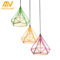 Modern Art Pyramid Nordic Iron Diamond Pendant Lights Birdcage Ceiling Pendant Lamps Home Decorative Light Fixture