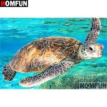 """HOMFUN полный квадратный/круглый дрель алмазная живопись 5D «сделай сам» """"животное морская черепаха"""" 3d-бриллиантовая вышивка вышивки крестом домашний декор A18946"""