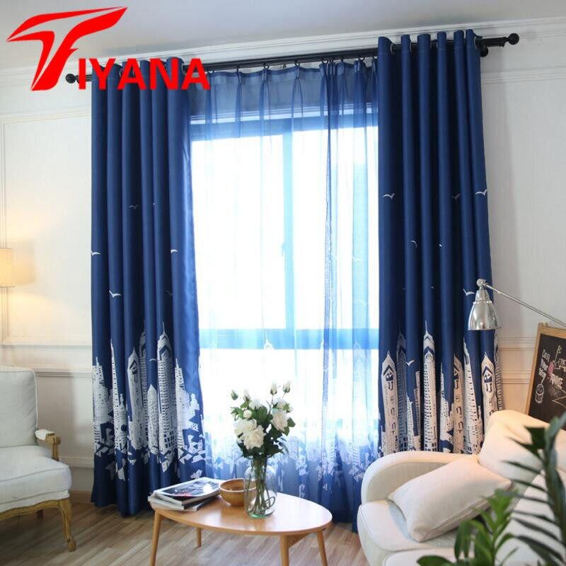 Neue Ankunft Mittelmeer Vorhänge Für Kinder Schlafzimmer Wohnzimmer Jungen  Mädchen Cartoon Blau Kaffee Vorhang Vorhänge H027Z30