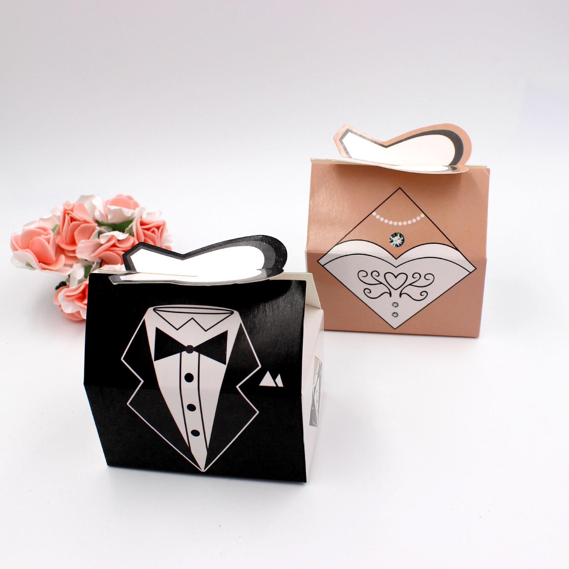 Bride & Groom Candy Box Bridal Wedding casamento Candy Packaging Box ...