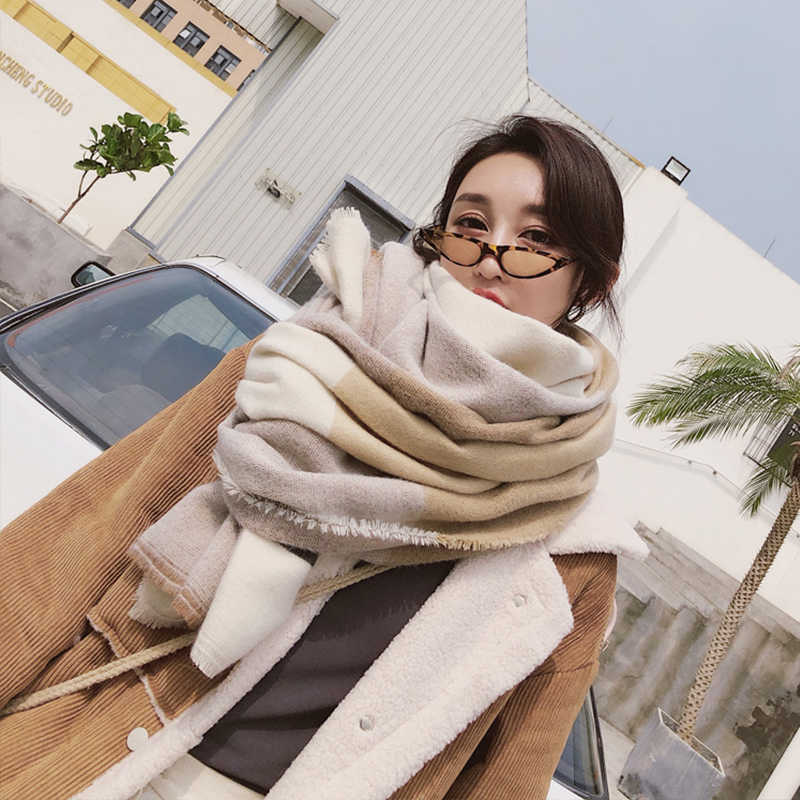 New fashion autumn winter women's fashion temperament wild plaid shawl warm thick high quality trend soft cute long big scarf