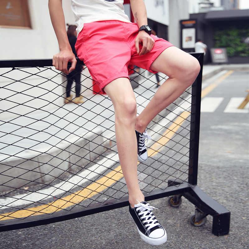 Новые 2017 летние одноцветные джинсовые платья-комбинезоны мужские шорты кэжуал с эластичной талией хлопковые мужские шорты пляжные шорты мужские большие размеры M-3XL DK3