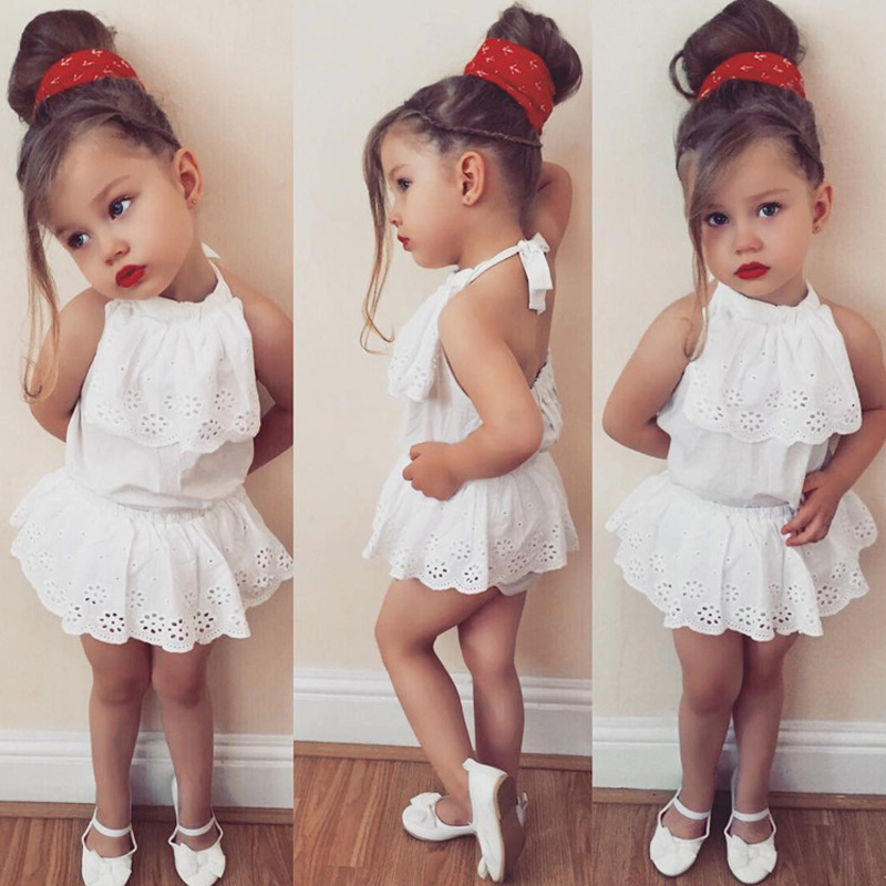 2 pcs Newborn Baby Girls Clothes Sets White Lace Top Ruffles Short Pants outfits Children Toddler Backless Summer Clothes ST43