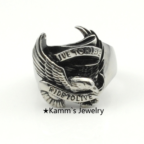 Anime Biker The Eagles Nest Hole Word Rings Bird 316L Stanless Steel titanium Cow Boy animal Punk Rock Ring music KR129 US size