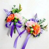 Yeni 4 adet/grup Adam Damat sağdıç için korsaj Bilek çiçek Mor Düğün suit Yaka Çiceği aksesuarları pin broş dekorasyon