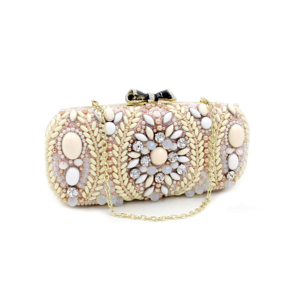 ФОТО New Luxury Evening Bag Crystal Handbag Party Wedding Purse With Chain For Women Gold Pink