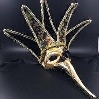 1pc Half Face Christmas Masquerade Mask Halloween Party Venetian Retro Plastic Long Nose Masks