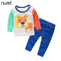 Newborn Baby Girl Boy Clothes Set 2017 Cute Cat And Dog Print Clothing Suit For Baby Kids Children Cotton Clothing Sets FF064