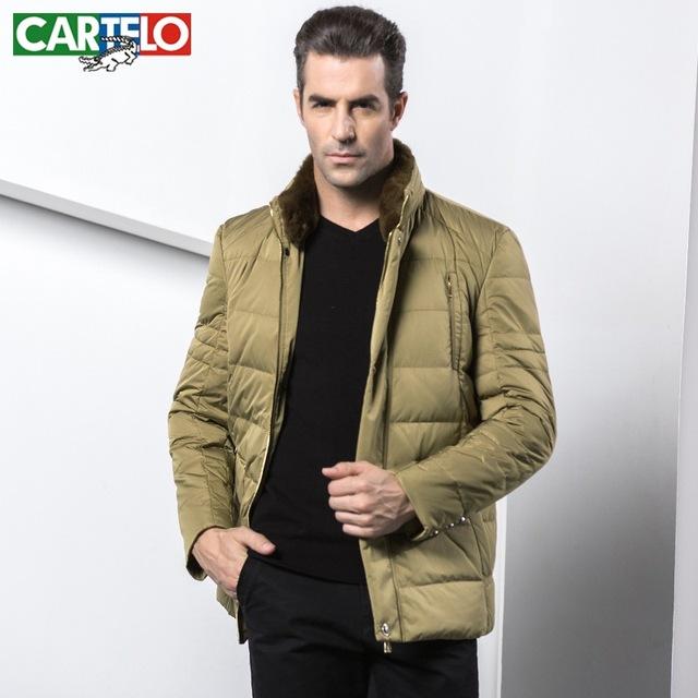CARTELO marca Rex coelho gola de pele dos homens novos negócios de moda de lazer mais grosso PATO BRANCO PARA BAIXO JAQUETA CASACO 'HOMENS s