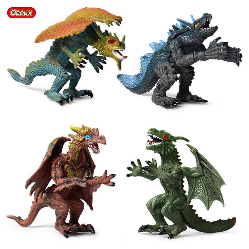 Oenux 4 pçs/set ocidental voando magia dragão figuras de ação dinossauro selvagem pvc alta qualidade animal modelo coleção brinquedo crianças presente