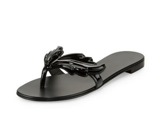 cc9236a91 Top Selling 2017 Newest Fashion Easeful Women Flip Flops Black Gold Silver  Wings Patent Sandals Summer Beach Slippers Free Ship