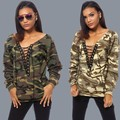 New DARK CAMO LACE UP Sweater Military Camouflage Printing 834