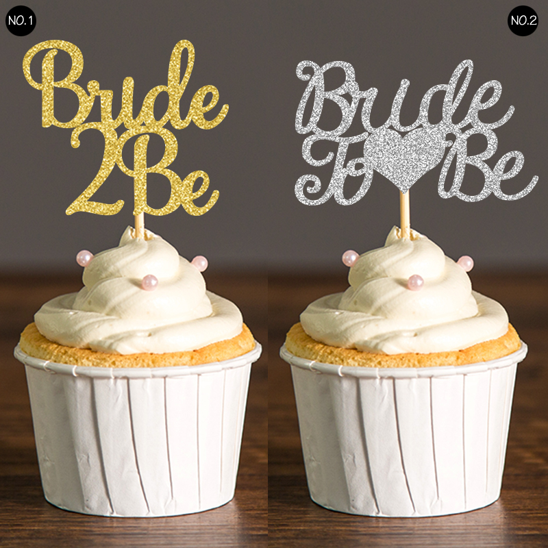 Gold & Silver Glitter Bride to Be Cupcake Toppers Wedding ...