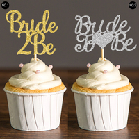 Gold Silver Glitter Bride 2 Be Cupcake Toppers Wedding Bridal Shower Decor Food Picks Party Favors