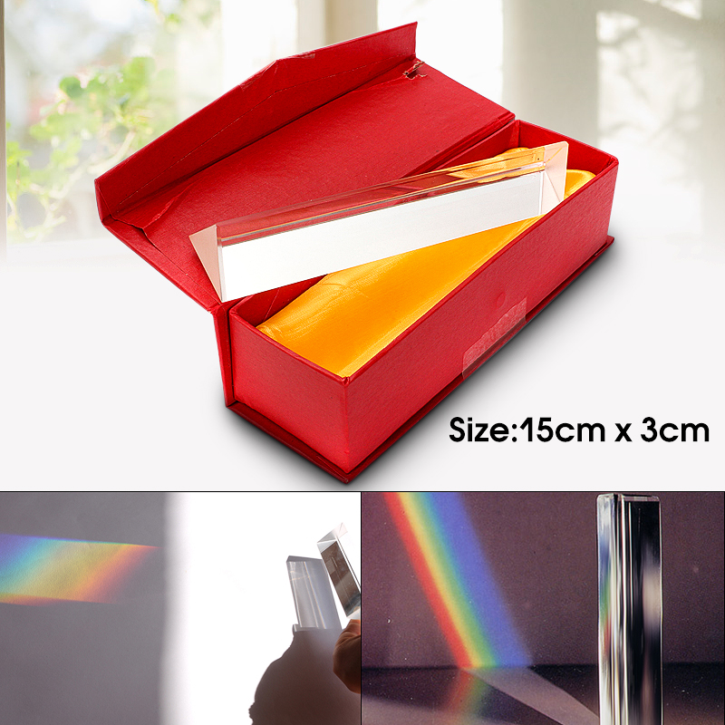 6 15cm Gift Triple Triangular Prism Physics Teaching Light Spectrum Rainbow Optical Glass with Box