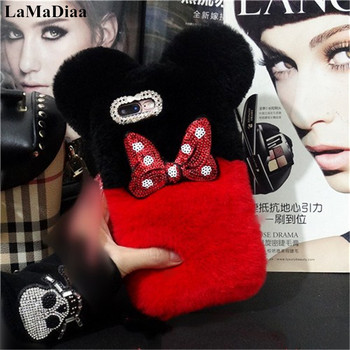 LaMaDiaa Lovely Warm Phone Case For iPhone 12 11 Pro X XS MAX XR 6 7 8 PLUS Luxury Fluffy Plush Rabbit Fur Ball Protective Case