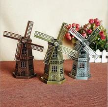 "18cm(7"") Antique Bronze Dutch Windmill Model Metal Crafts Figurine Decoration Articles Holland Windmill Home Ornaments"