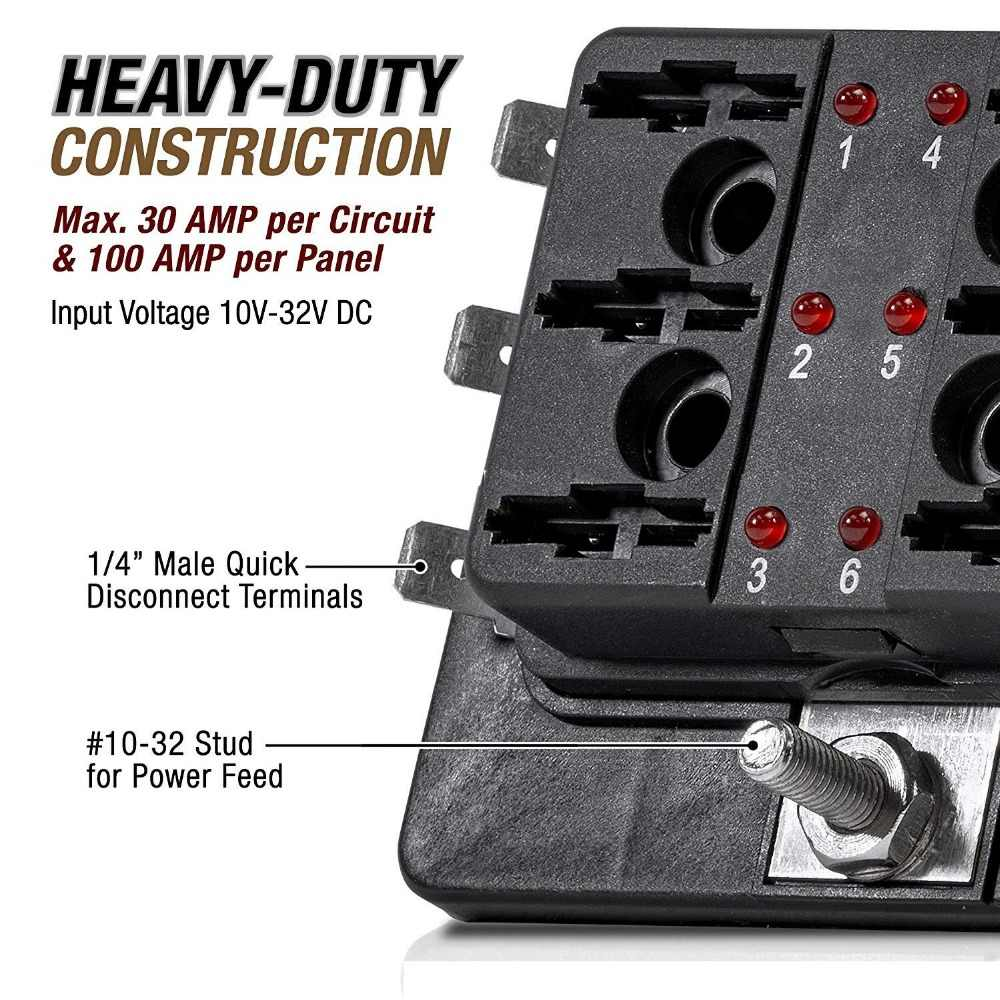 6-way blade fuse box [led indicator for blown fuse] [protection cover