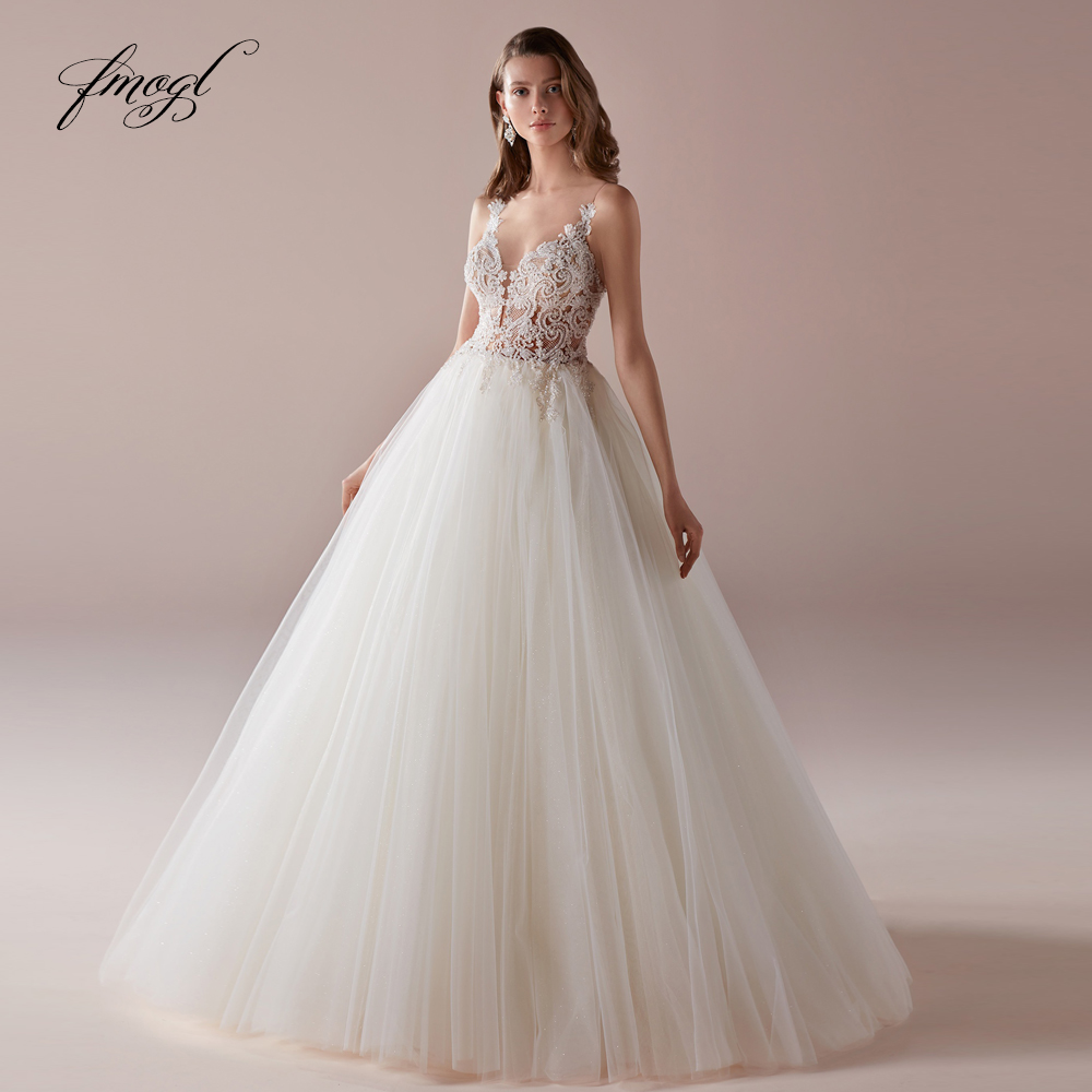 e895b26e9aae Fmogl Spaghetti Straps Sweetheart A Line Wedding Dresses 2019 Sexy Backless  Appliques Beaded Vintage Bridal Gowns Plus Size ~ Best Seller July 2019