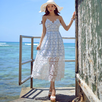 original 2016 summer dress brands high waisted fashion runway vintage sexy maxi lace dresses pink blue