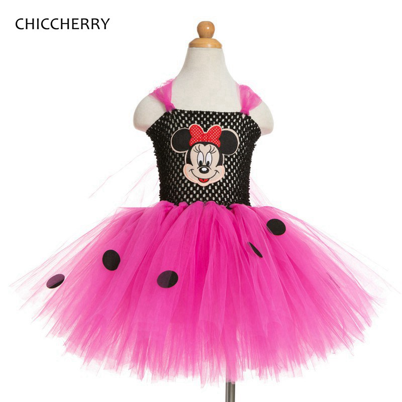 Fantasia Minnie Girls Party Dresses Lace Tutu Baby Girl Dress Vestidos Kids Clothes Toddler Birthday Outfits Children Clothing