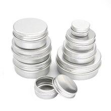 50 sztuk/partia 5g 10g 15g 20g 30g 40g 50g słoiki aluminiowe 5 ml 10 ml 15 ml 20 ml 30 ml 40g 50 ml pusty kosmetyczne Metal aluminium pojemniki blaszane
