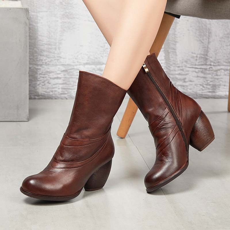 2018 autumn and winter new retro in the boots round head high heel boots first layer leather ladies side zipper boots цена 2017