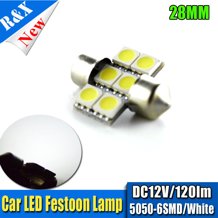 Car Styling 4pcs 100PCS Dozen C5W Car Led 28mm 5050 SMD 6LED 6500K Bulbs For Door