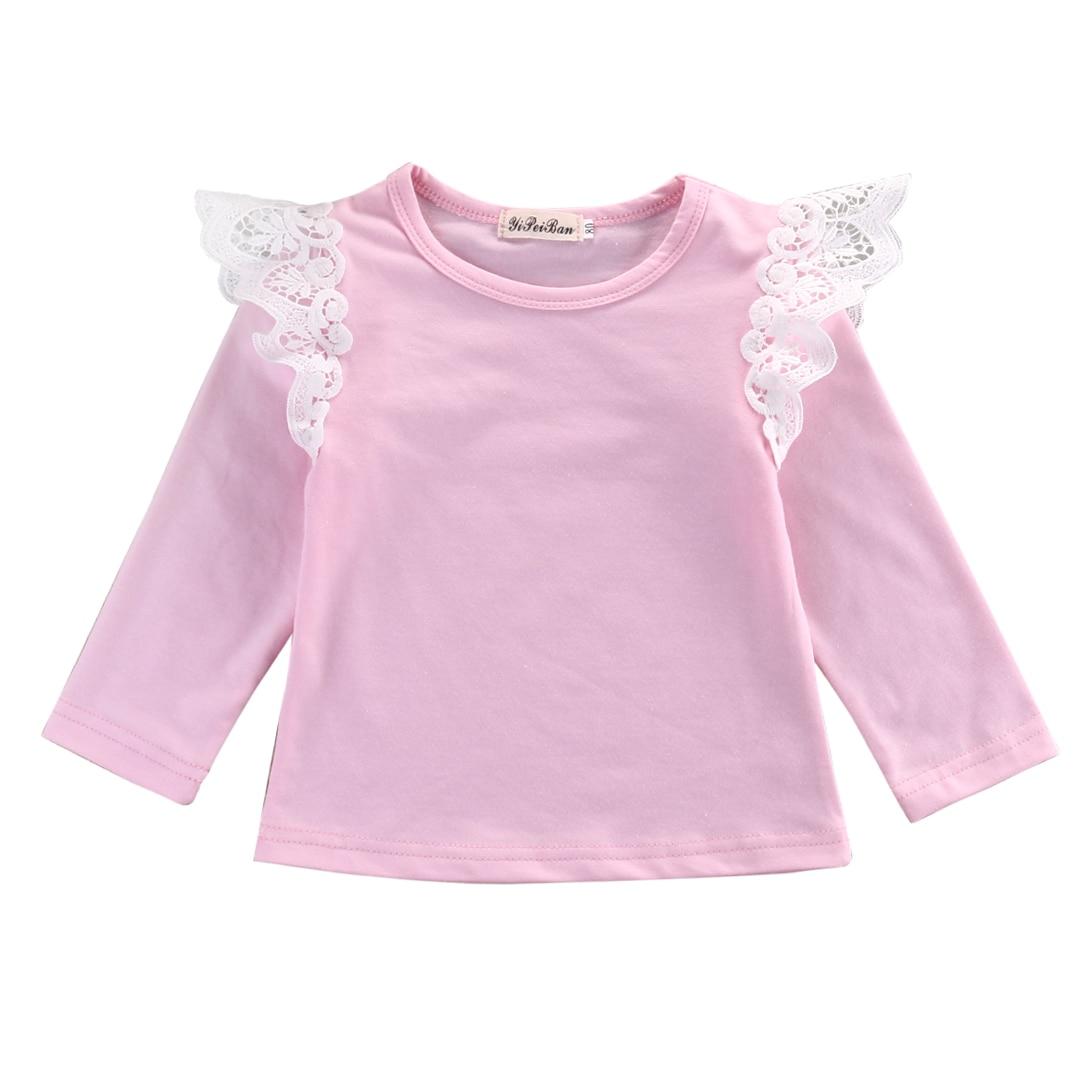 2016 Hot Sale Baby T-shirt!!Toddler Kids Baby Girls Princess Long Sleeve Autumn Cotton Lace T-shirt