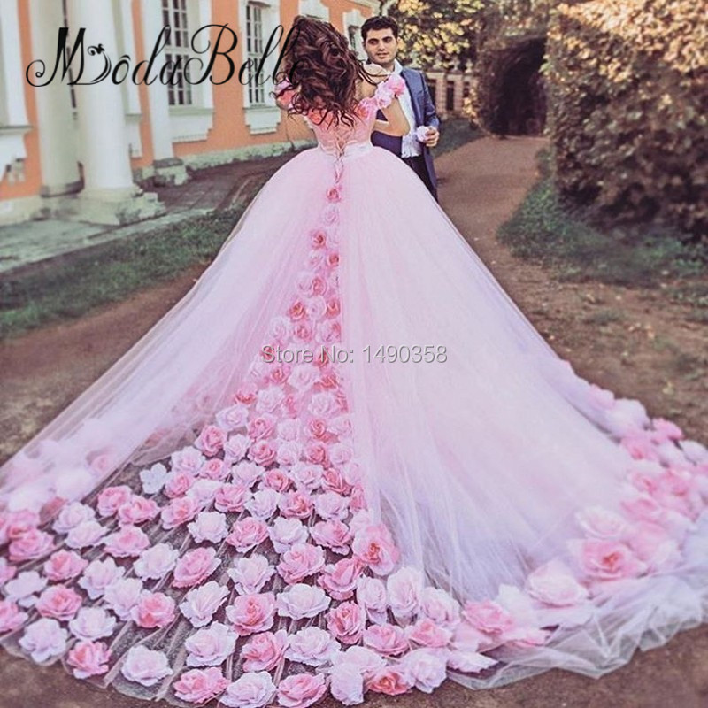 Ball Gown Wedding Dresses With Color : Princess arabic flowers colored pink wedding dress puffy