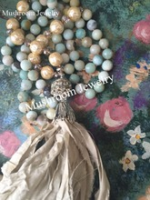 Boho Chic Hand Knotted Faceted Amazonite Beaded And Pearl Beads Glam Sari Silk Tassel Necklace