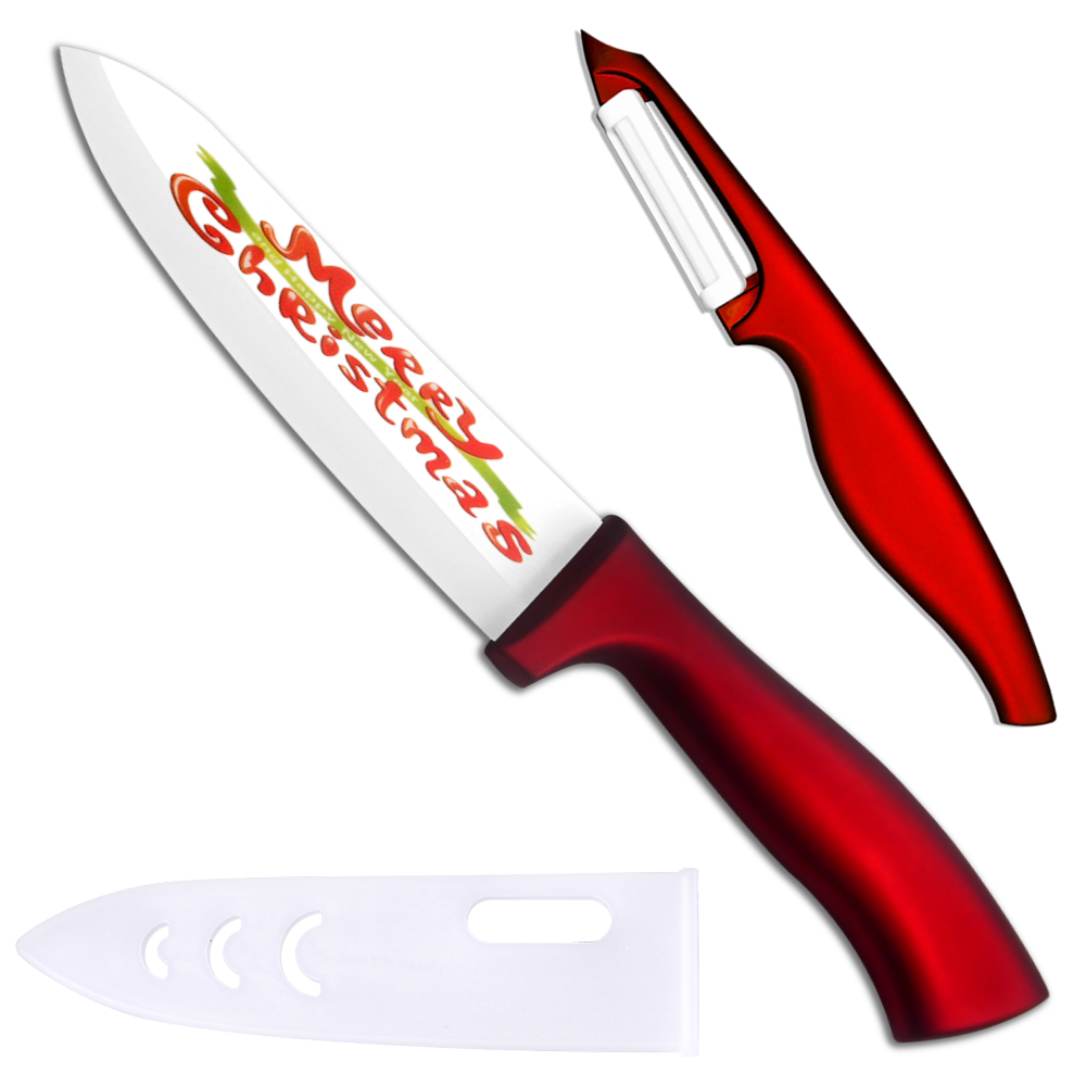 Xyj Merek 6 Inch Chef Keramik Pisau Dan Pengupas Merah Abs Tpr Kitchen Knife Sett Pcs Menangani Dapur Set Dengan Penutup High End Terbaik Memasak Alat