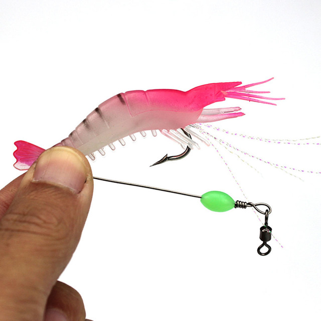 Life-Like Luminous Shrimp Soft Fishing Lure 9cm 5pcs Set