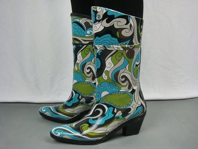 Hot Designer High-Heeled Wide-calf Women Rain Boots with Watermark & Floral Rubber Horse Fashion Riding Boots for Ladies