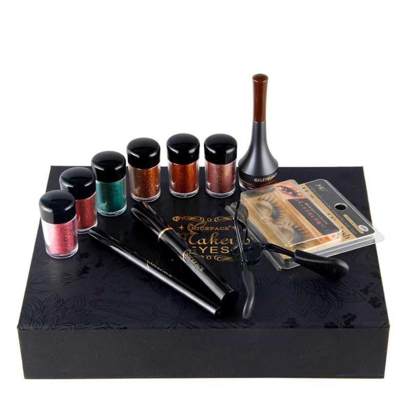 11pcs/set Women Christmas Makeup Set Eyeshadow Powder Eyebrow False Eyelashes Mascara Eyelash Clip Kit Beauty Gift Maquiagem
