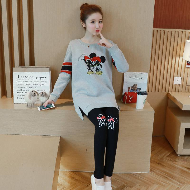 Autumn and winter wear Korean fashion pregnant women suit new letter pattern printing shirt + stomach lift pants two-piece стоимость