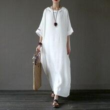 Solid White Plus size Linen Embroidery Women Long Dress Original Oversized Summer Dress Linen Brand Robe Longue Femme A042
