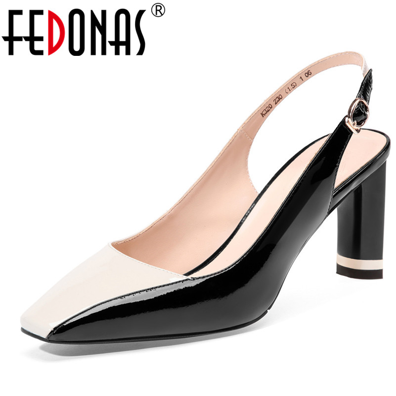 FEDONAS Sexy Women Pumps Two Color Combinations Party High Heels Shoes Woman Rome Quality Cow Leather